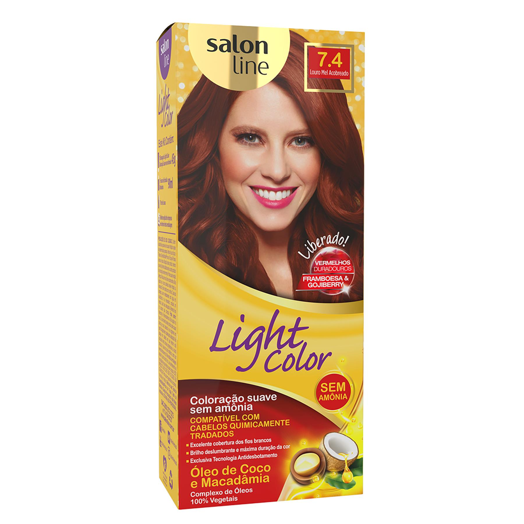 COLORAÇÃO LOURO MEL ACOBREADO 7.4 - LIGHT COLOR SALON LINE
